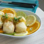 Merluza con salsa de cítricos